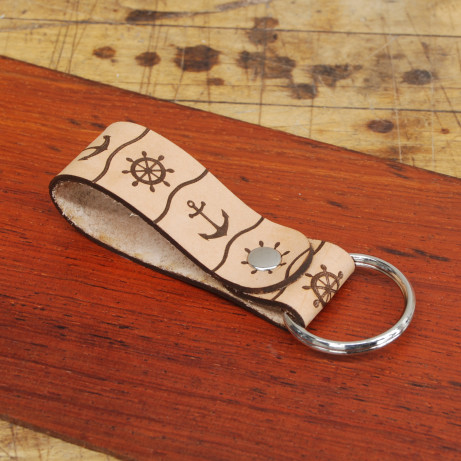Key Fob With Split Ring Large Wheel And Anchor